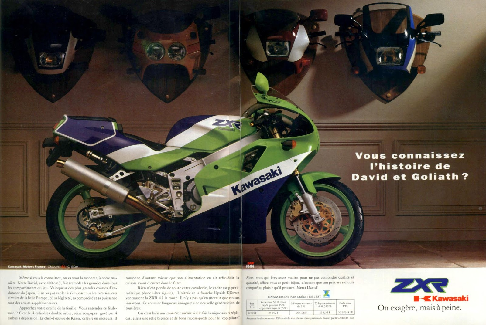 Vintage Brochures Kawasaki ZXR 400 H 1989 France