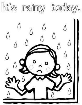 Dibujo de niña triste bajo la lluvia para colorear ~ 4 Dibujo