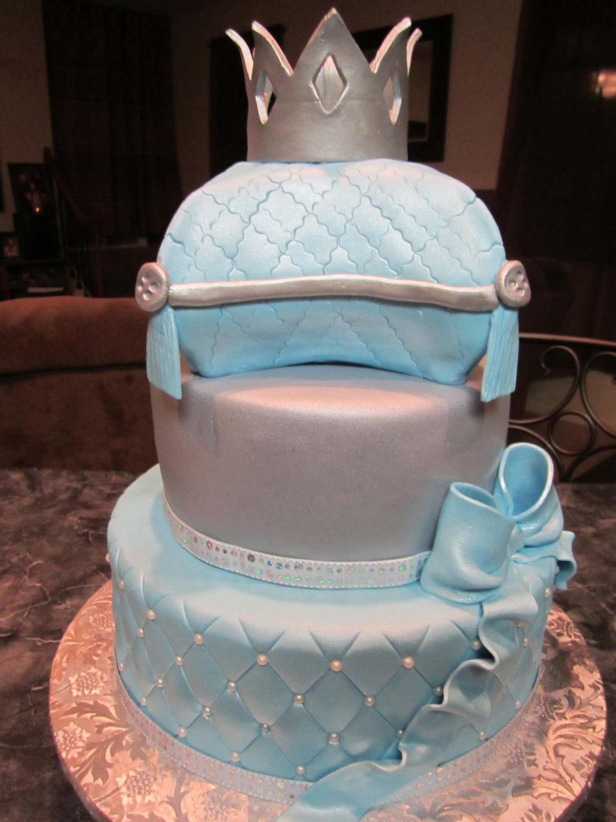 Little Prince Baby Shower Cake with Pillow and Crown
