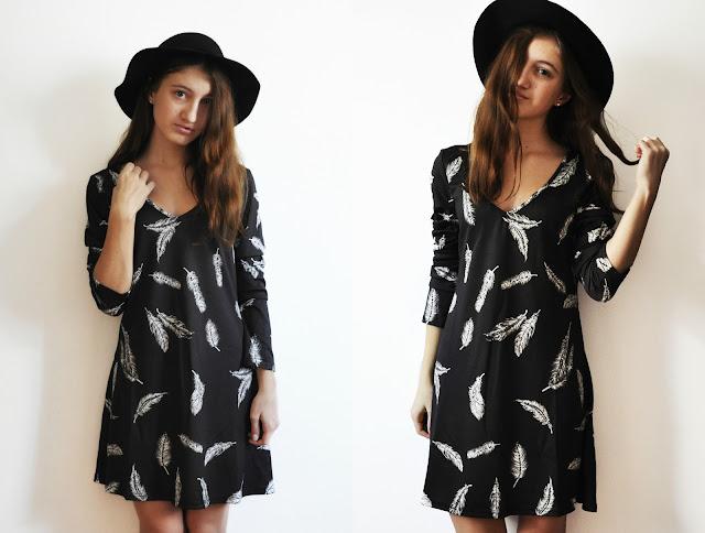 Czarna sukienka z rękawem dekolt V