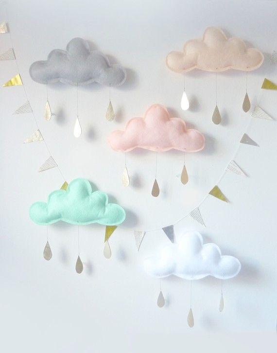 Decorau00e7u00e3o para chu00e1 de bebu00ea com nuvens e pingo de chuva - Dicas pra ...