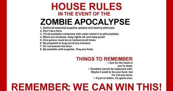 Zombie Apocalypse House Rules - Introspective World on
