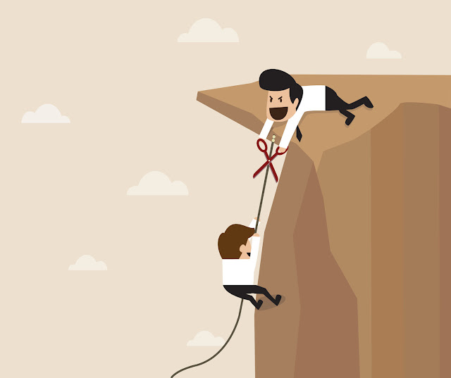 Two businessmen scale a mountain, and one prepares to cut the other's rope before he can reach the top.