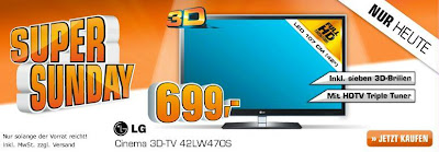 Saturn-Super-Sunday: 42 Zoll-LED-3D-TV LG 42LW470S für 699 Euro