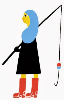 a bright colored fishing girl illustration by Marimekko