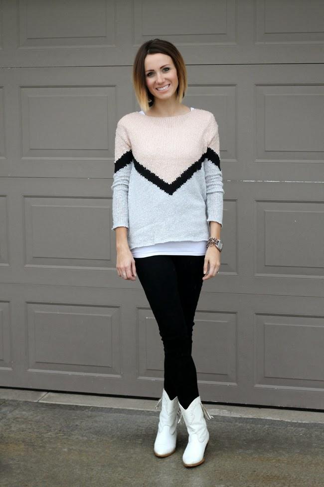 Chevron sweater, black denim and white cowgirl boots