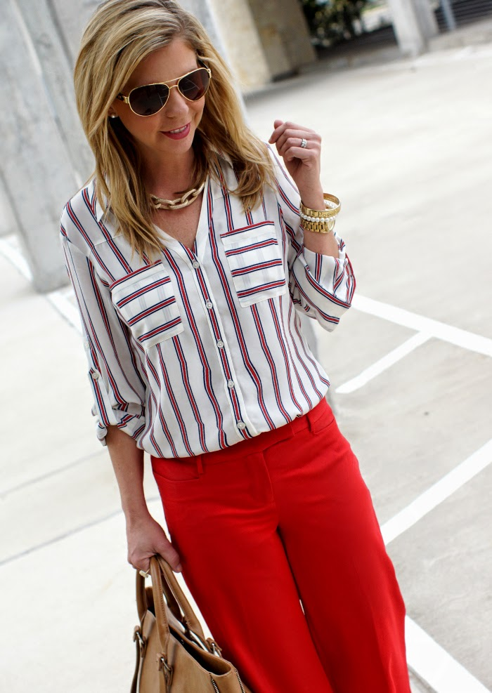 Express stripe blouse spring 2015