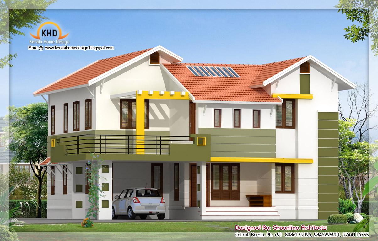 Exterior collections kerala home design 3d views of for Villa front elevation photos kerala