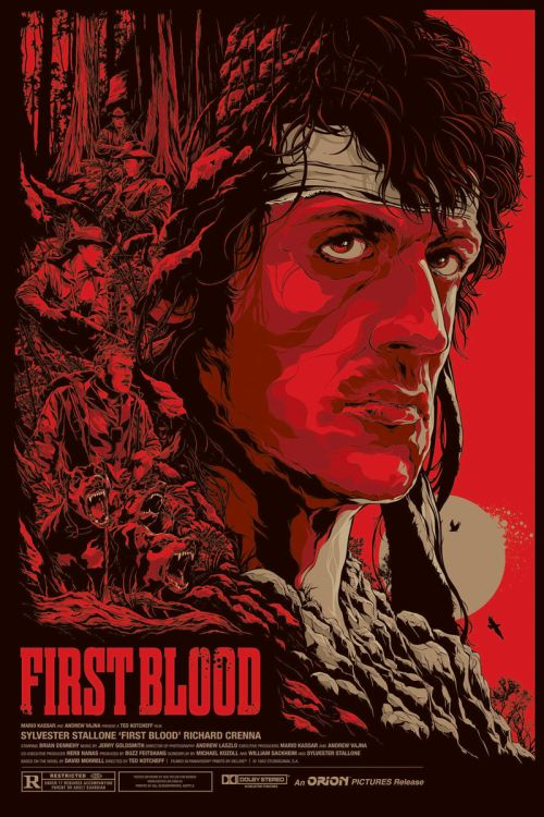 Ken Taylor illustrations movie posters silkscreen First Blood
