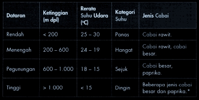 tabel suhu, ketinggian, dan jenis cabai