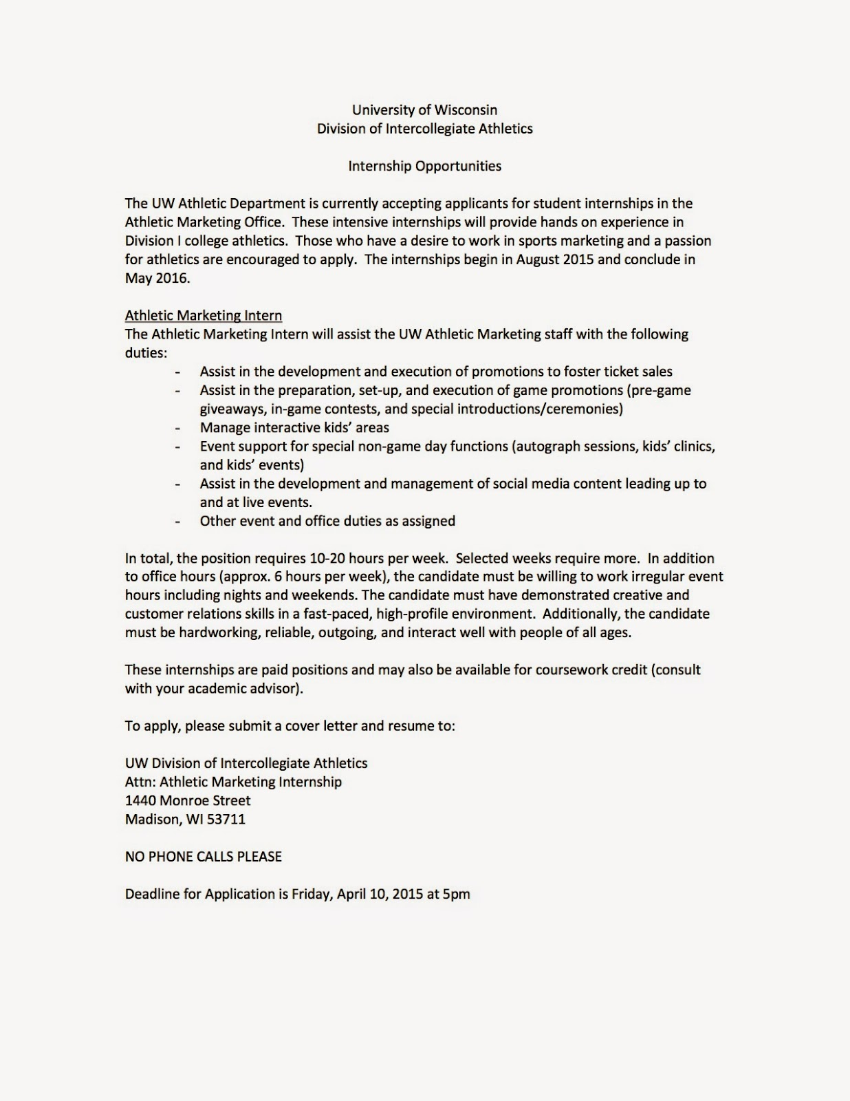 marketing internship with the uw athletic department - Cover Letter For Marketing Internship