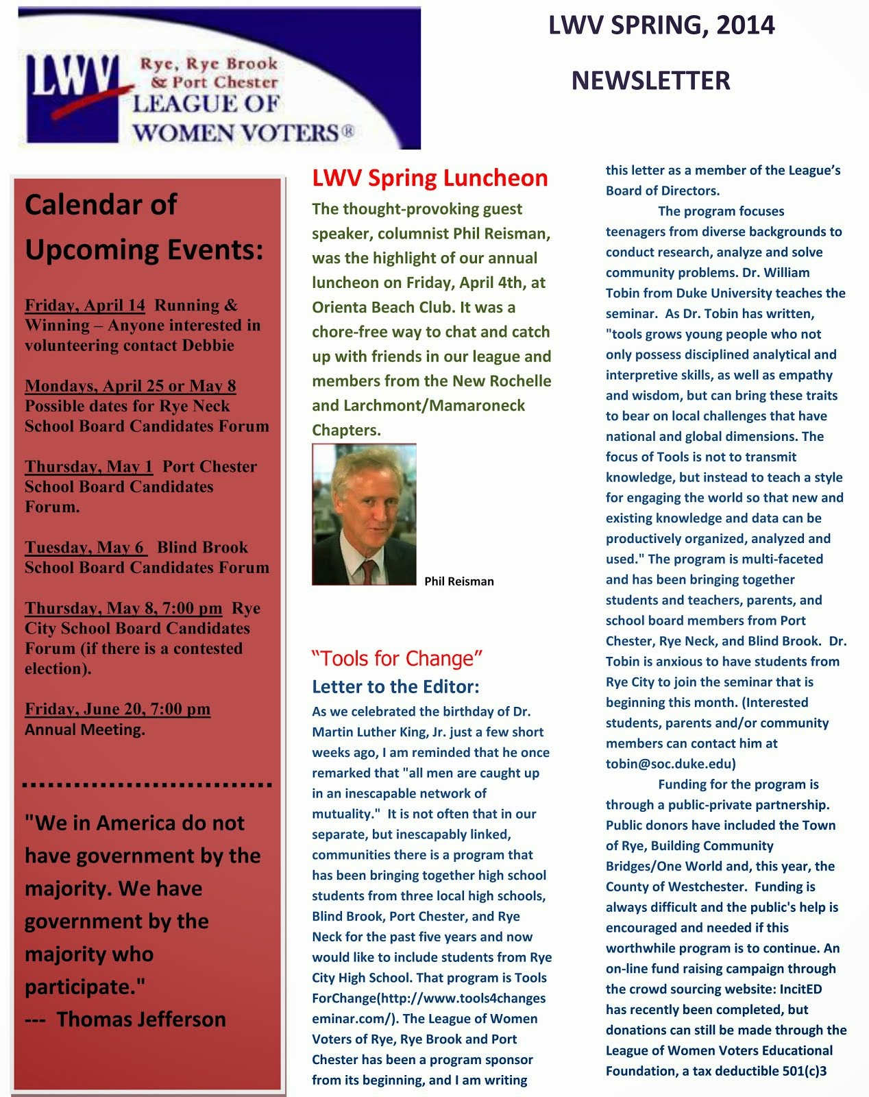 LWV SPRING NEWSLETTER