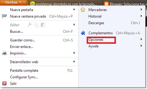 Firefox Opciones