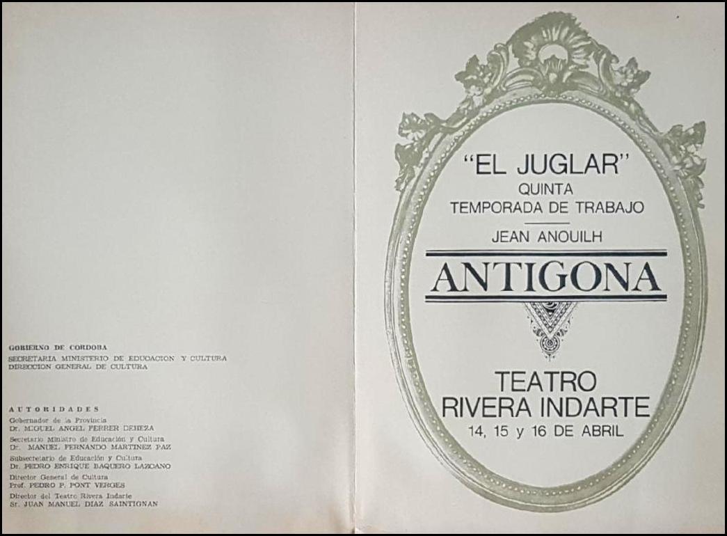 ANTÍGONA, de Anouilh, con El Juglar. Director.  Córdoba, 1967