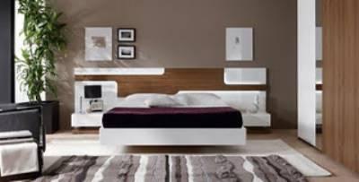 dormitorio de matrimonio nogal y blanco