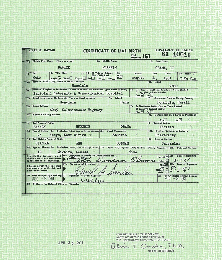 Pundit Press: Picture of President Obama\'s Long-Form Birth Certificate