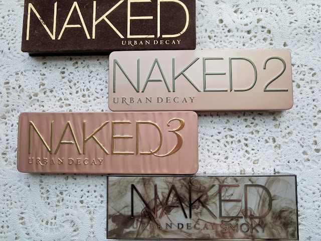 a picture of Urban Decay Naked Palettes ; Naked, Naked 2, Naked 3, Naked Smoky