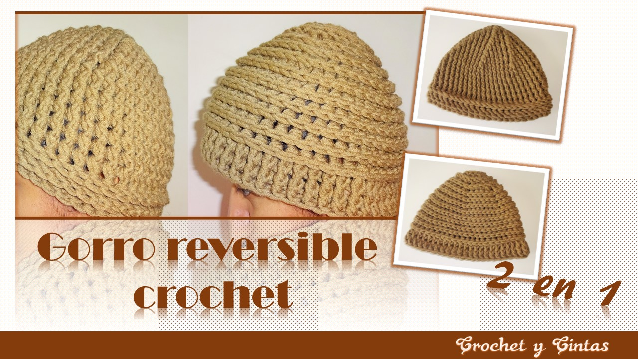 gorro reversible 2 en 1 tejido a crochet ganchillo para. Black Bedroom Furniture Sets. Home Design Ideas