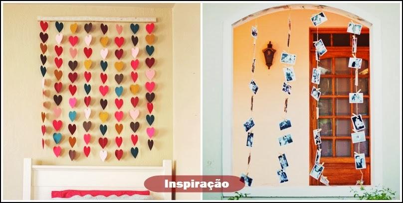 cortina de corações e fotos