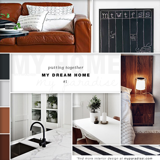 A style board collage of my favorite interiors as a single dream home inspiration.
