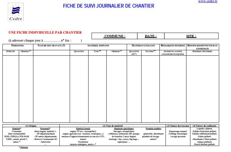 fiche de suivi journalier de chantier en format pdf cours g nie civil outils livres. Black Bedroom Furniture Sets. Home Design Ideas
