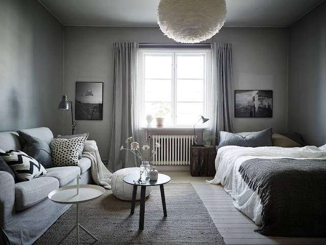 Petit appartement tout en douceur grise interior design for Decoration petit appartement