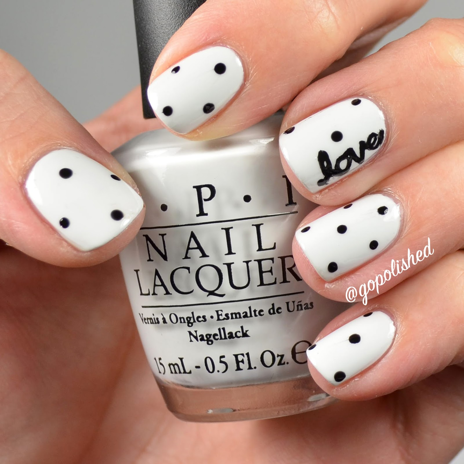 Go Polished Valentine Nail Design Love And Polka Dots