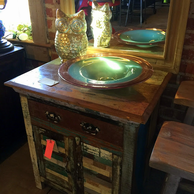 Look what I found, a farmhouse style rustic side table and accessories