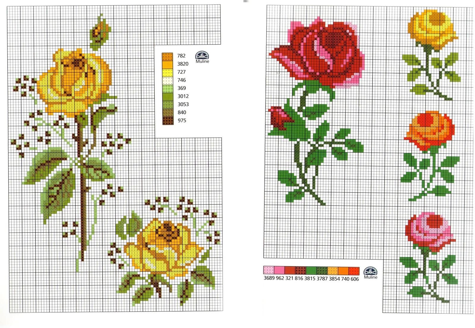 Grande raccolta di schemi e grafici per punto croce free fiori fiori da ricamare a puntocroce - Disegni punto croce per tovaglie da tavola ...