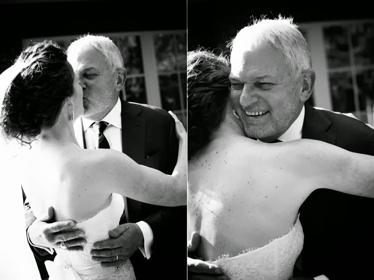father of the bride seeing his daughter for the first time in her wedding dress