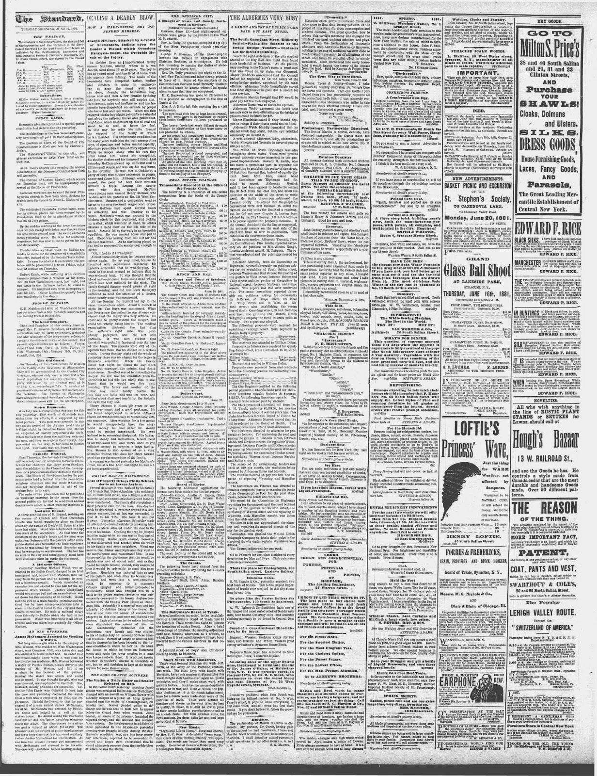 Climbing My Family Tree:  Strauss-McClure fight The Syracuse Standard, June 14, 1881