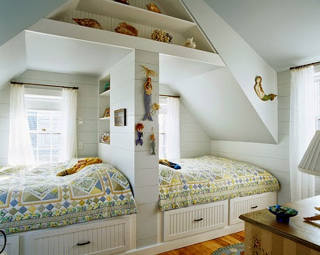 awesome white double kids sleeping nooks