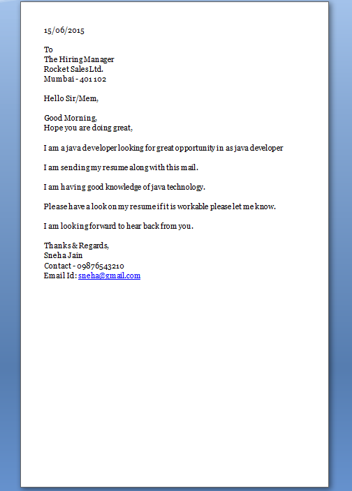 Junior Java Developer Cover Letter