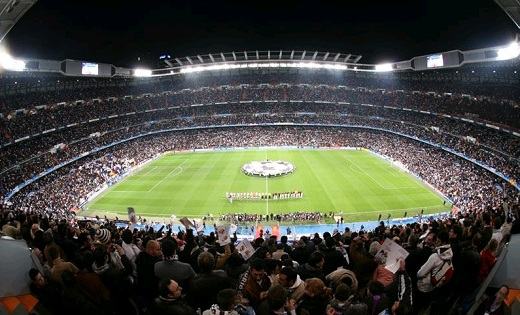 Bernabeu Stadium full during a European Champions League match