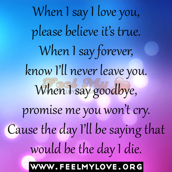 when i say i love you please believe it s true when i say forever know ...