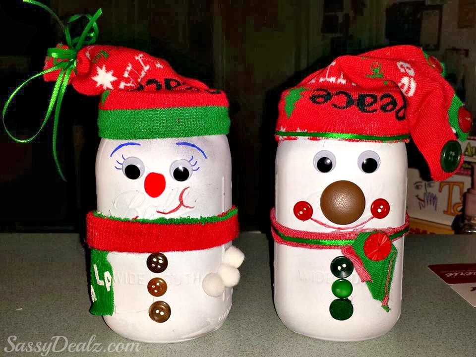snowman mason jar crafts for kids - Christmas Jar Decorations