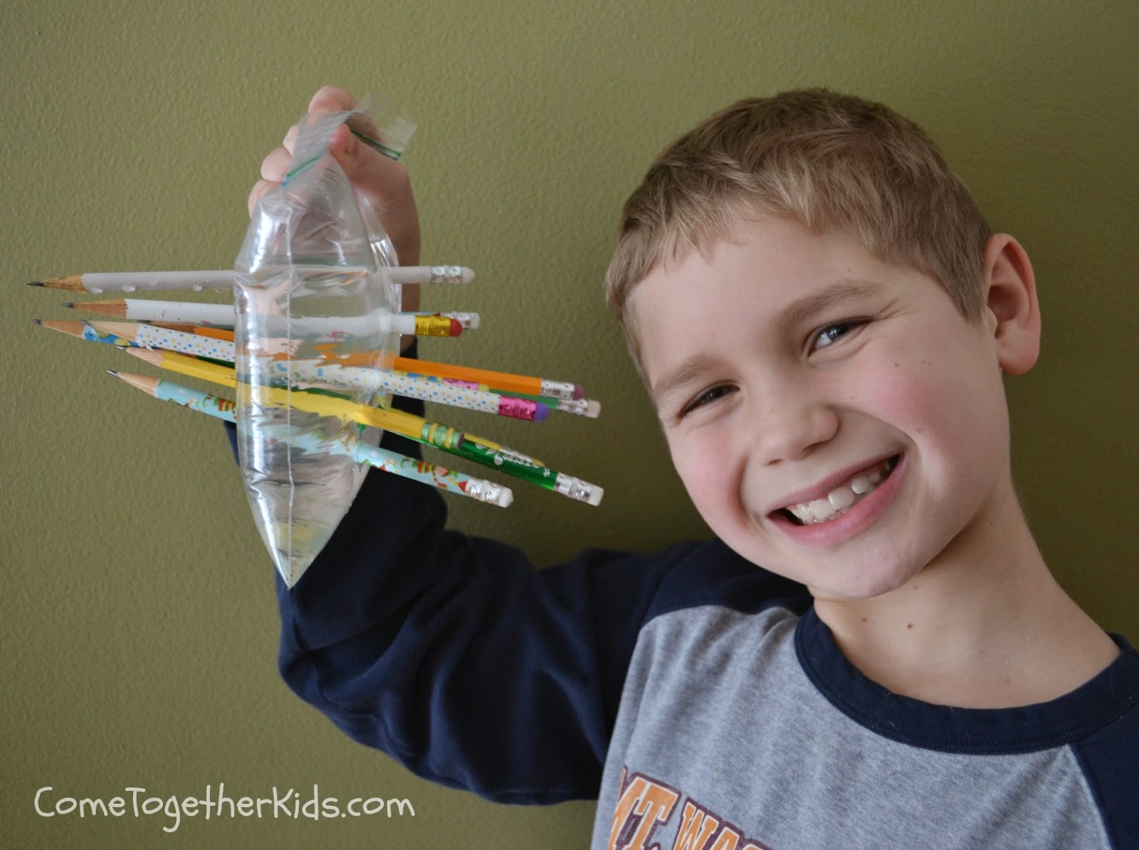 So cool!  Stick pencils through a bag of water without any leaks!