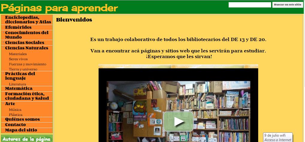 Páginas para Aprender- Bibliotecas Escolares-