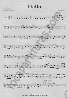 Partitura de Hello para Viola Lionel Richie  Sheet Music Viola Music Score Hello