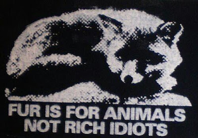 "Animal rights graphic of a fox, reads, ""Fur is for animals not rich idiots"""