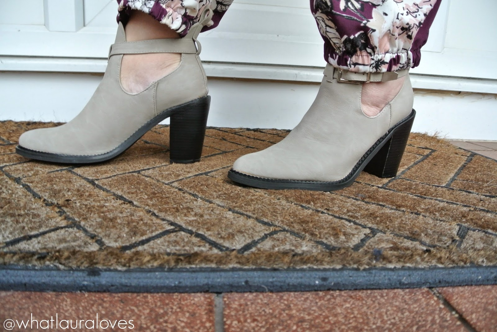 Grey Nubuck Rose Buckle Ankle Boots from Missguided