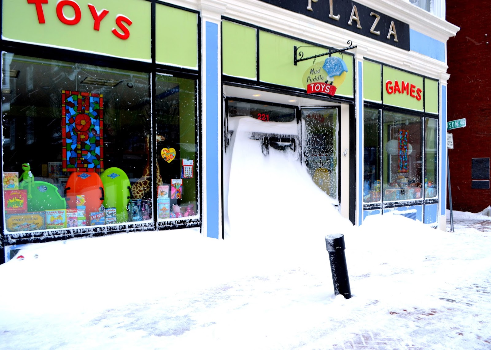 snowed in, toy store, essex street, salem, massachusetts,