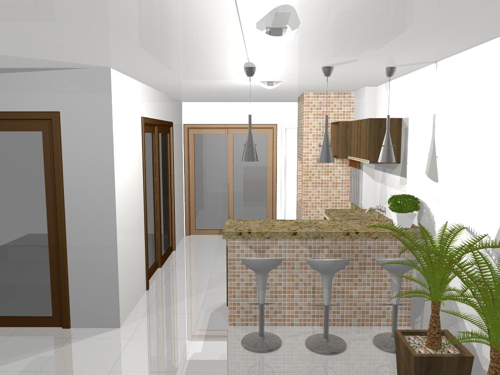 Projeto 3D de uma churrasqueira 3 banquetas bombo branca armarios  #4E601B 1024x768