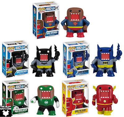 DC Universe x Domo Pop! Heroes Vinyl Figures by Funko - Domo as Superman, Dark Knight Batman, Classic Batman, Green Lantern & The Flash