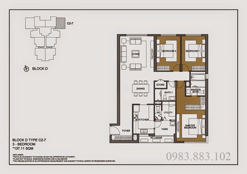 Thiết kế căn C2-7 Chung cư Mulberry Lane