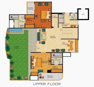 Emerald Court :: Floor Plans,Aspire / Bluestone 1 Penthouse:-Upper Floor5 Bedrooms, 6 Toilets, Kitchen, Dining, Drawing, 6 Balconies, Servant Room, Terrace Garden with Water Feature Area - 4330 Sq. Ft. 638 Sq. Ft. Terrace Area