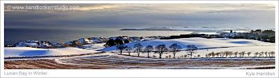 Winter snow dunes red castle Lunan sand sea seaside beach East coast Angus Scotland tide wide angle panoramic Hamilton Kerr