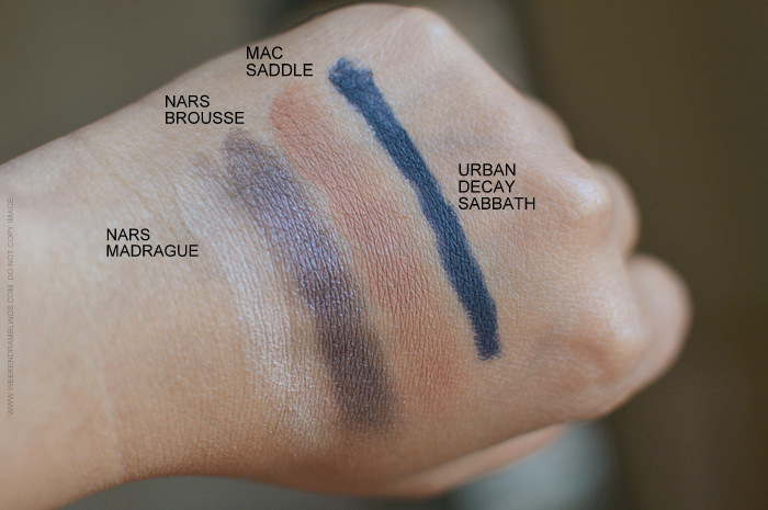 Makeup Swatches - NARS Madrague Eyeshadow Duo - NARS Brousse - MAC Saddle - Urban Decay Eyeliner Sabbath