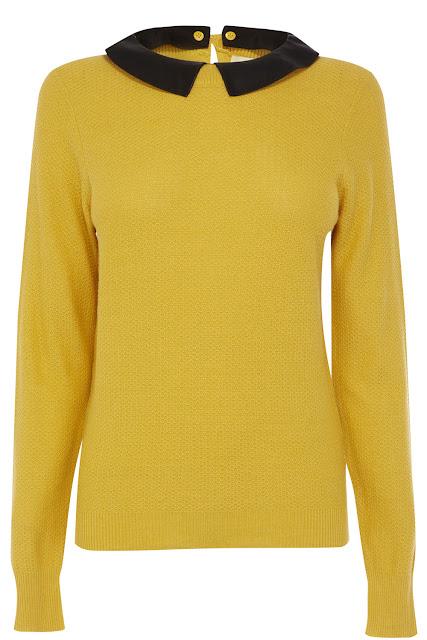 mustard leather collar top