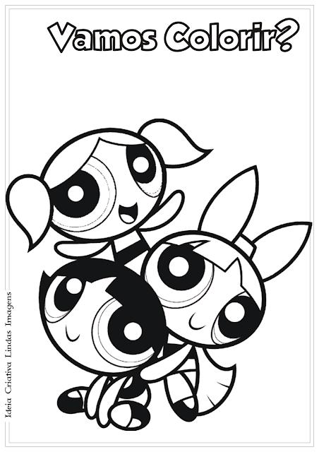 As Meninas Super-Poderosas desenho para colorir